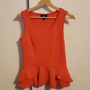 Coral Peplum Medium stretchy tank top blouse
